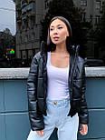 Женская кожаная куртка из экокожи на утеплителе, воротник- стойка, на молнии vN10605, фото 6