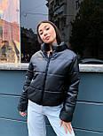 Женская кожаная куртка из экокожи на утеплителе, воротник- стойка, на молнии vN10605, фото 7