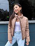 Женская кожаная куртка из экокожи на утеплителе, воротник- стойка, на молнии vN10605, фото 8