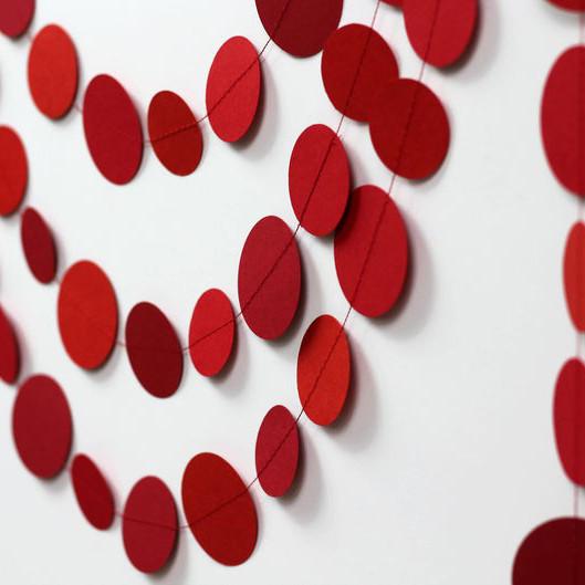 Гирлянда бумажная Круги 5,5 см Красная 5 метров