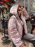 Женская короткая дутая куртка с капюшоном из плащевки лаке (р. 40-58) vN10633, фото 4