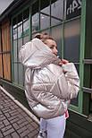 Женская короткая дутая куртка с капюшоном из плащевки лаке (р. 40-58) vN10633, фото 6