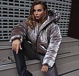 Женская короткая дутая куртка с капюшоном из плащевки лаке (р. 40-58) vN10633, фото 7