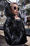 Женская короткая дутая куртка с капюшоном из плащевки лаке (р. 40-58) vN10633, фото 8