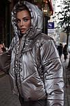 Женская короткая дутая куртка с капюшоном из плащевки лаке (р. 40-58) vN10633, фото 9