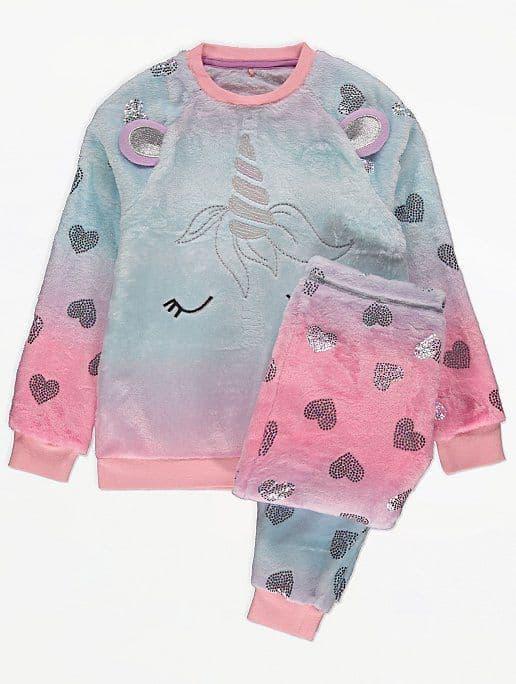Пижама детская флисовая плюшевая единорог George 140-146 см 1 комплект