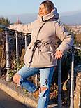 Женская куртка миди с кулиской на поясе и мехом на капюшоне (р. 42-46) vN10635, фото 2