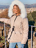 Женская куртка миди с кулиской на поясе и мехом на капюшоне (р. 42-46) vN10635, фото 3