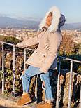 Женская куртка миди с кулиской на поясе и мехом на капюшоне (р. 42-46) vN10635, фото 4