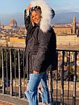 Женская куртка миди с кулиской на поясе и мехом на капюшоне (р. 42-46) vN10635, фото 5