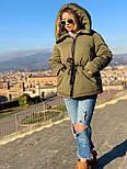 Женская куртка миди с кулиской на поясе и мехом на капюшоне (р. 42-46) vN10635, фото 6