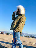 Женская куртка миди с кулиской на поясе и мехом на капюшоне (р. 42-46) vN10635, фото 7