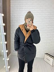 Женская двухсторонняя куртка зимняя под пояс с капюшоном (р. 42-46) vN10638