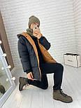 Женская двухсторонняя куртка зимняя под пояс с капюшоном (р. 42-46) vN10638, фото 2