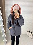 Женская двухсторонняя куртка зимняя под пояс с капюшоном (р. 42-46) vN10638, фото 3