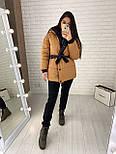 Женская двухсторонняя куртка зимняя под пояс с капюшоном (р. 42-46) vN10638, фото 4