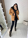 Женская двухсторонняя куртка зимняя под пояс с капюшоном (р. 42-46) vN10638, фото 5