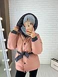 Женская двухсторонняя куртка зимняя под пояс с капюшоном (р. 42-46) vN10638, фото 10
