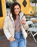 Женская теплая короткая куртка на молнии с капюшоном (р. 42-46) vN10645, фото 4