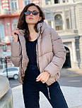 Женская теплая короткая куртка на молнии с капюшоном (р. 42-46) vN10645, фото 2