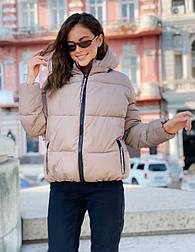 Женская теплая короткая куртка на молнии с капюшоном (р. 42-46) vN10645