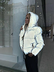 Светоотражающая женская короткая куртка со съемным капюшоном (р. 42-48) vN10648
