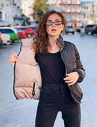 Женская двухсторонняя короткая куртка с карманами, на молнии и с воротником - стойкой (р. 42-48) vN10649