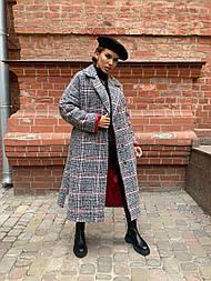 Женское длинное пальто утепленное со шлицей и двумя карманами под пояс (р. 42-46) vN10650