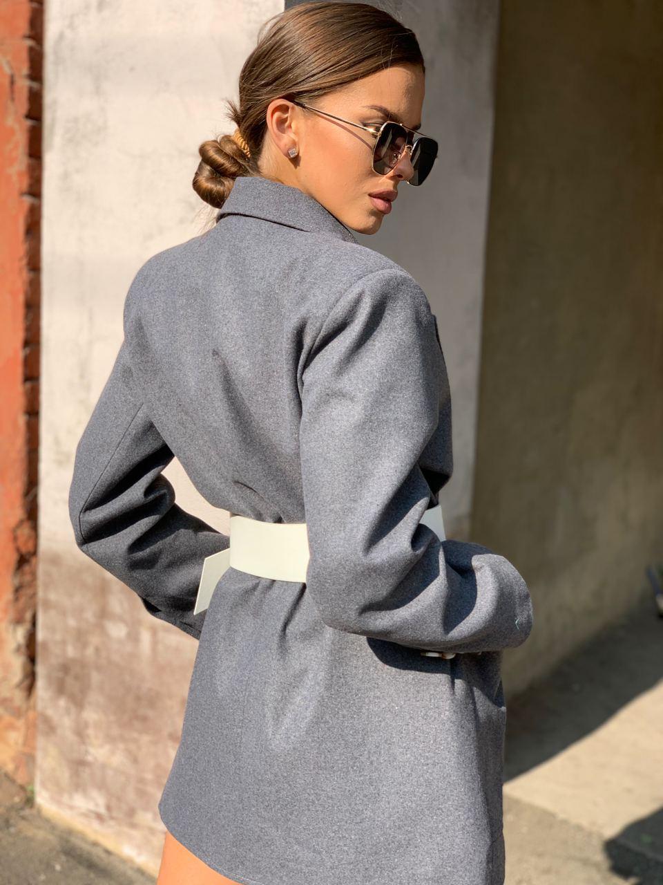Женское пиджак - пальто с карманами, декорирован пуговицами (р. 42-46) vN10654