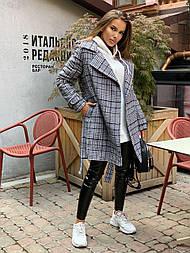 Женское утепленное пальто на запах под пояс в клетку (р. 42-46) vN10656