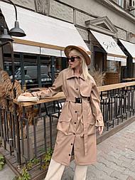 Женское кожаный плащ под пояс ниже колена с накладными карманами (р. 42-46) vN10660