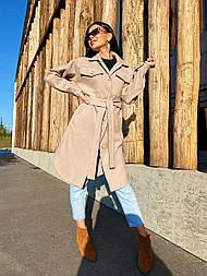 Осеннее пальто - рубашка из кашемира длиной миди, с рубашечным воротником и манжетами (р. 42-48) vN10663