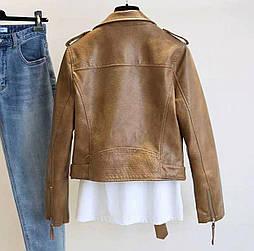 Женская укороченная кожаная куртка с большим воротником и поясом (р. единый 42-46) vN10671