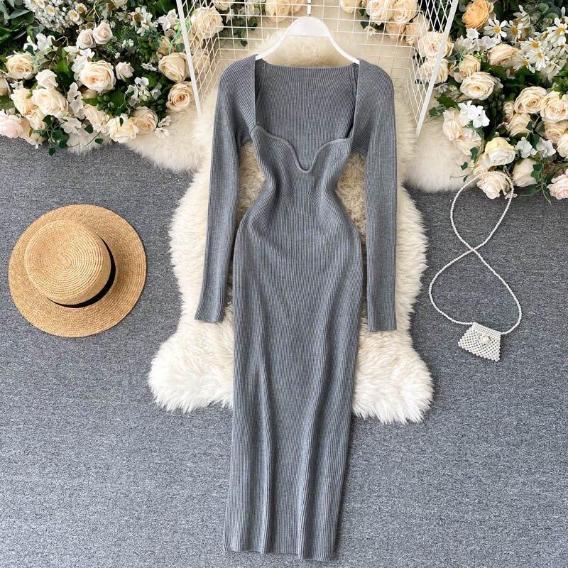Довге плаття з трикотажу рубчик з глибоким вирізом, з трикотажу рубчик (р. 42-46) vN10676