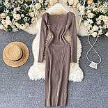 Довге плаття з трикотажу рубчик з глибоким вирізом, з трикотажу рубчик (р. 42-46) vN10676, фото 3