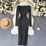 Довге плаття з трикотажу рубчик з глибоким вирізом, з трикотажу рубчик (р. 42-46) vN10676, фото 4