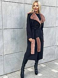 Кашемировое женское пальто миди с отделкой из стриженого меха (р. 42-46) vN10682
