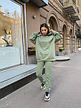 Женский спортивный костюм с начесом с объемным худи и штанами на манжетах vN10751, фото 9