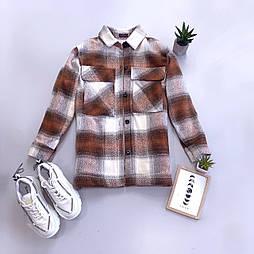 Короткое женское полупальто - рубашка в клетку на меху (р. 42-46) vN10776