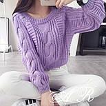 Жіночий теплий короткий светр з узорной в'язки (р. 42-46) vN10787, фото 3