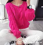 Жіночий теплий короткий светр з узорной в'язки (р. 42-46) vN10787, фото 4
