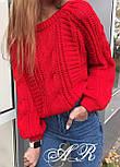 Жіночий теплий короткий светр з узорной в'язки (р. 42-46) vN10787, фото 7