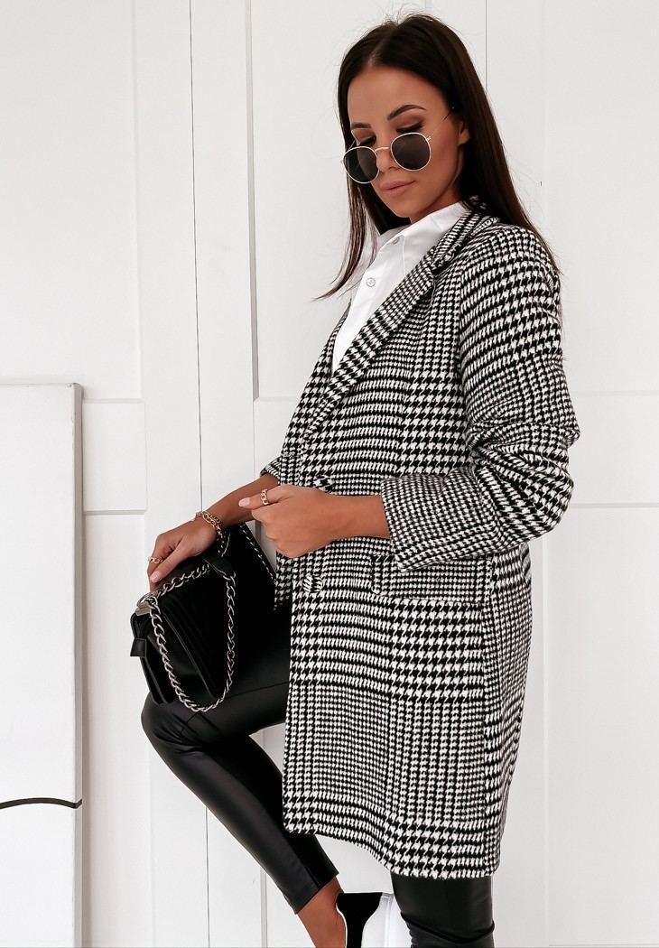 Женское демисезонное пальто в принт гусиная лапка на пуговицах (р. S-XL) vN10854