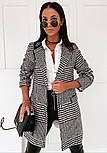 Женское демисезонное пальто в принт гусиная лапка на пуговицах (р. S-XL) vN10854, фото 2