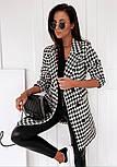 Женское демисезонное пальто в принт гусиная лапка на пуговицах (р. S-XL) vN10854, фото 3