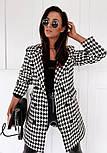 Женское демисезонное пальто в принт гусиная лапка на пуговицах (р. S-XL) vN10854, фото 10