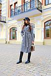 Женское длинное осеннее пальто в принт гусиная лапка с поясом (р. S-L) vN10855, фото 2