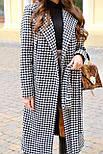 Женское длинное осеннее пальто в принт гусиная лапка с поясом (р. S-L) vN10855, фото 3