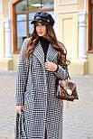 Женское длинное осеннее пальто в принт гусиная лапка с поясом (р. S-L) vN10855, фото 4