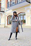 Женское длинное осеннее пальто в принт гусиная лапка с поясом (р. S-L) vN10855, фото 5